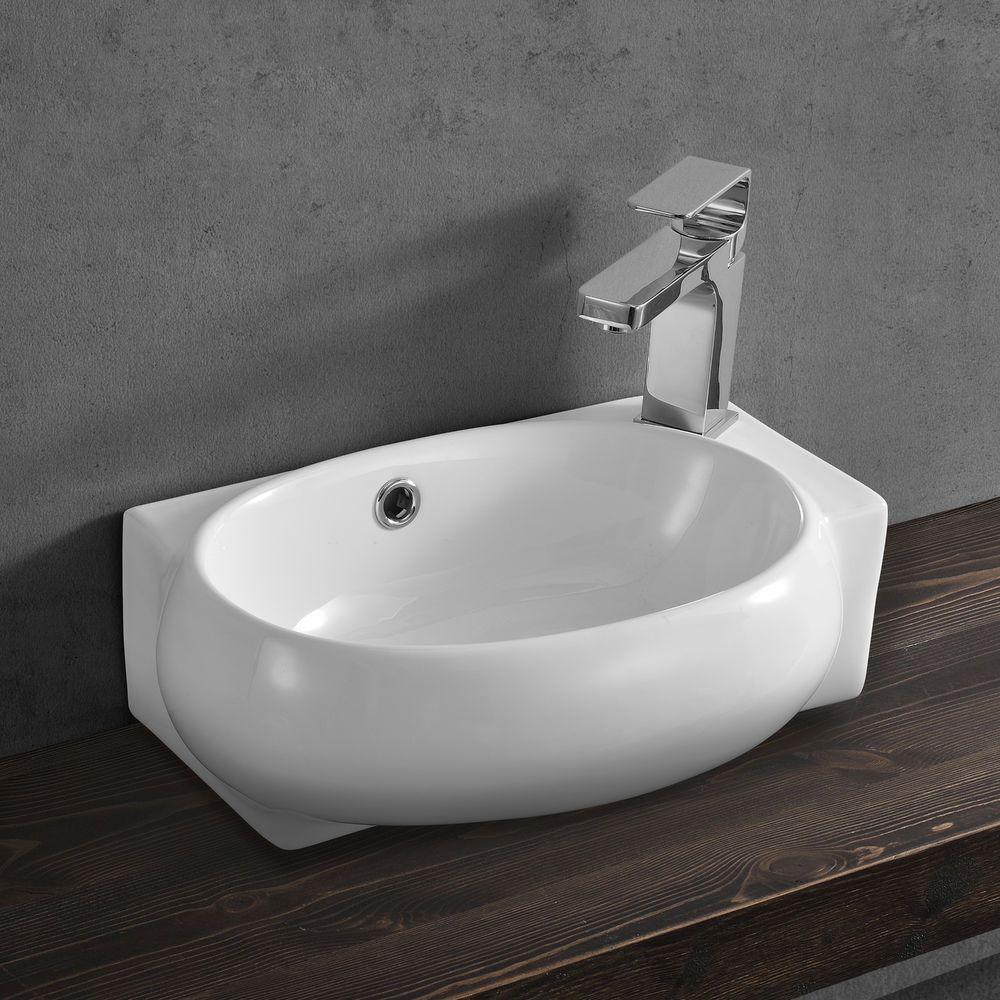 neu.haus] waschbecken gäste wc 42x28cm keramik weiß waschtisch wand