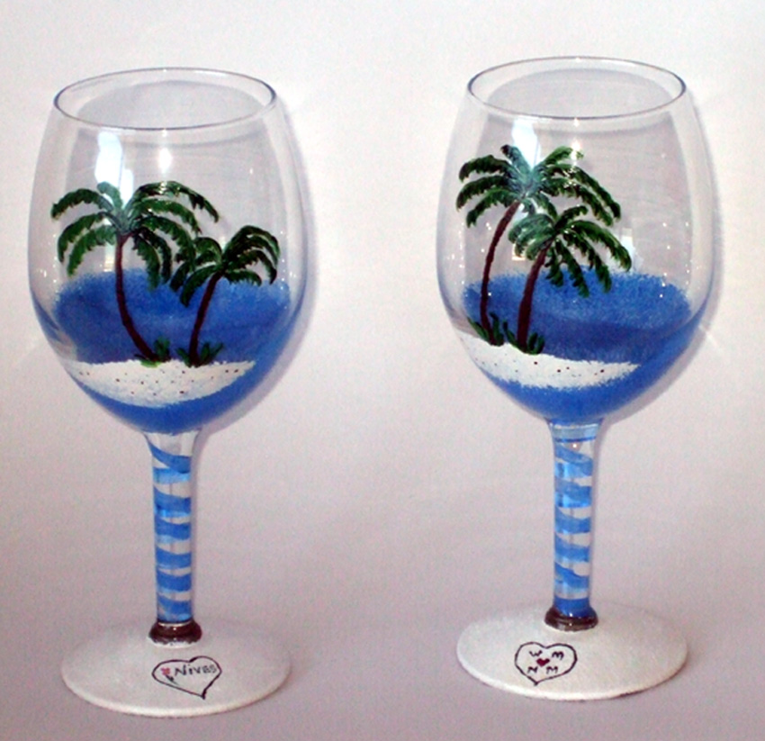 hand painted wine glass one of a kind wine. Black Bedroom Furniture Sets. Home Design Ideas