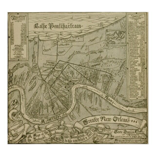 Vintage Map of New Orleans Louisiana (1919) showed the Greater New Orleans area with the Vieux Carre, Mississippi River, Lake Pontchartrain, and various surrounding plantations.  Available in several sizes.  Suitable for teachers, students, or any lover of history.
