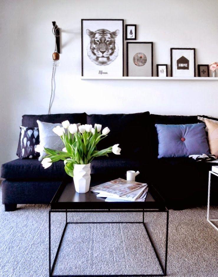 como darle vida a un sof negro o gris oscuro - Sofas Negros