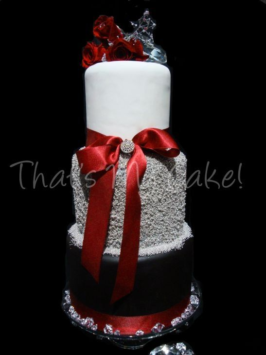 Silver Red Black Wedding Cake