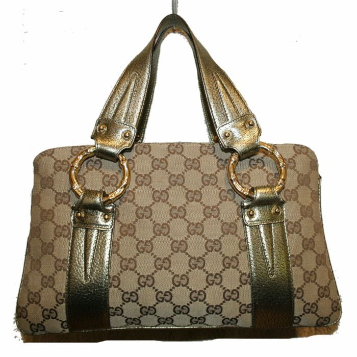 d33cb349fcc3 Catawiki online auction house: Gucci Monogram Canvas Metal Bamboo - *No  Minimum Price*