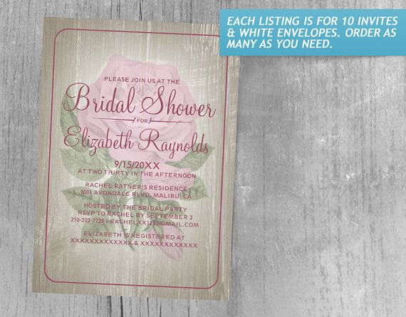 Pink Rustic Floral Bridal Shower Invitations