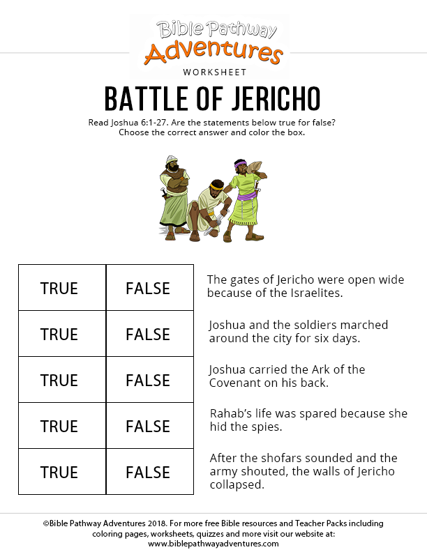 Battle of Jericho bible activity for kids | pages to use for ...
