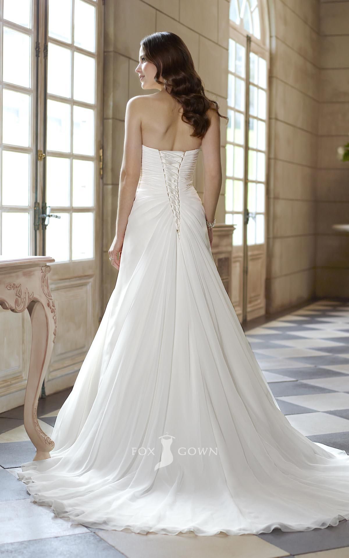 Strapless sweetheart a line empire asymmetrical pleated wedding