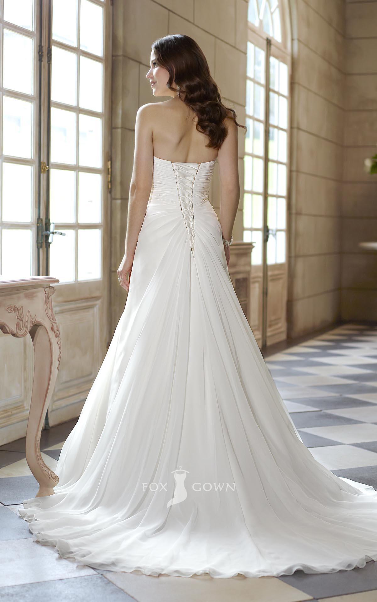 Back of wedding dress  Strapless sweetheart a line empire asymmetrical pleated wedding