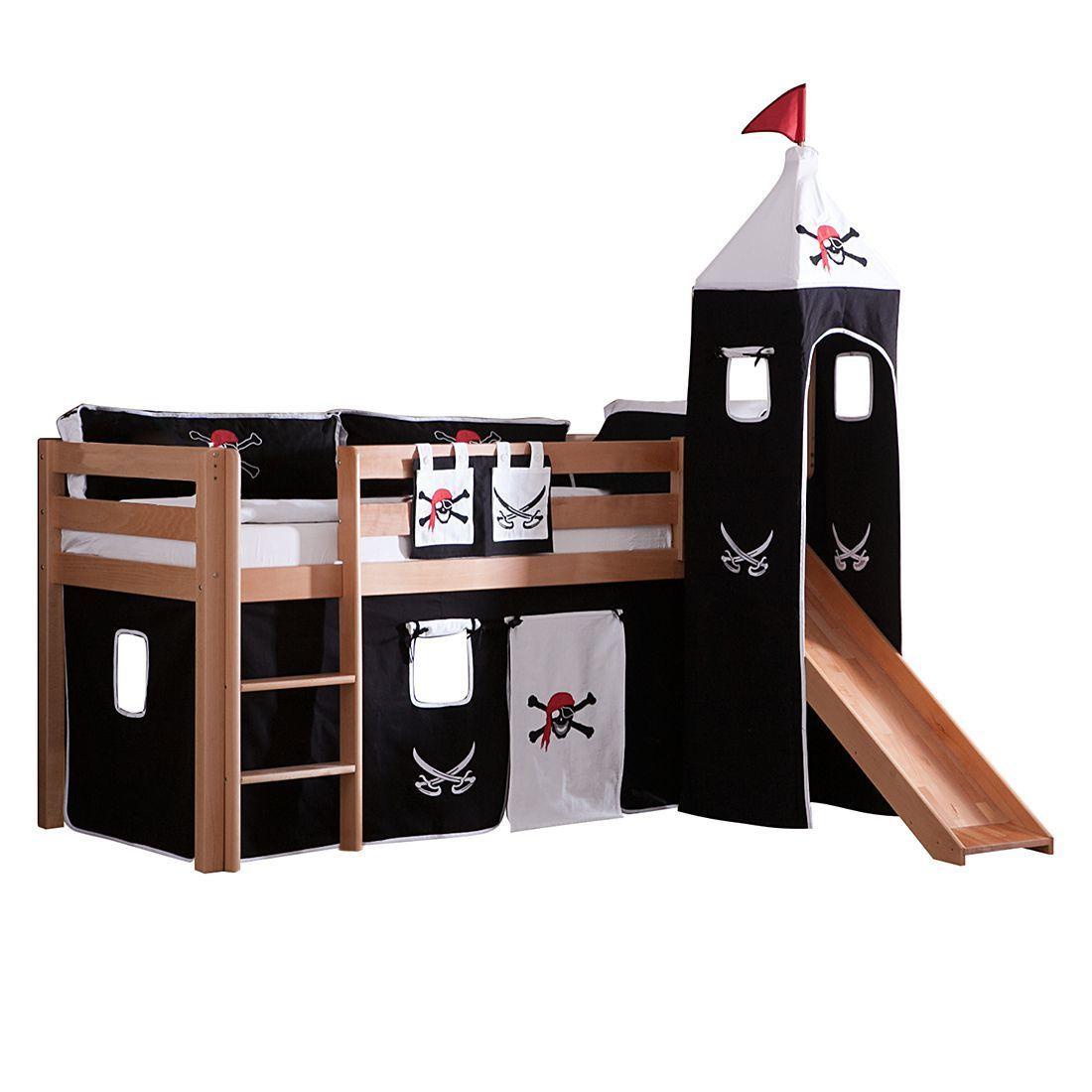 Spielbett Alex Mit Rutsche Vorhang Turm Und Tasche Buche