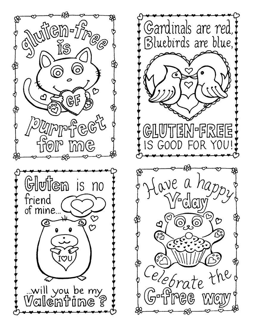 Valentines Cards Coloring Pages Gluten Free Valentine S Day Cards Plus 3 Treat Ideas Free Valentines Day Cards Valentine Card Template Printable Coloring Cards