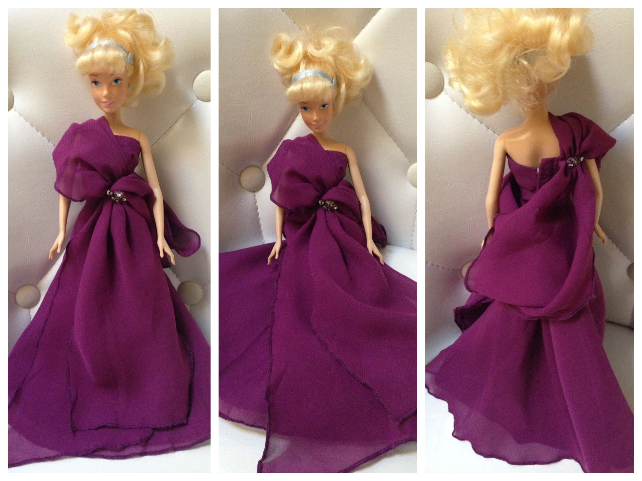 This is such a beautiful long and flowy elegant purple dress. It has that chiffon appeal and it even fits this Disney Cinderella Doll perfectly.  you can get it here: https://www.amazon.com/gp/product/B01KLO2MYG/ref=oh_aui_detailpage_o09_s00?ie=UTF8&th=1 #ad #discount