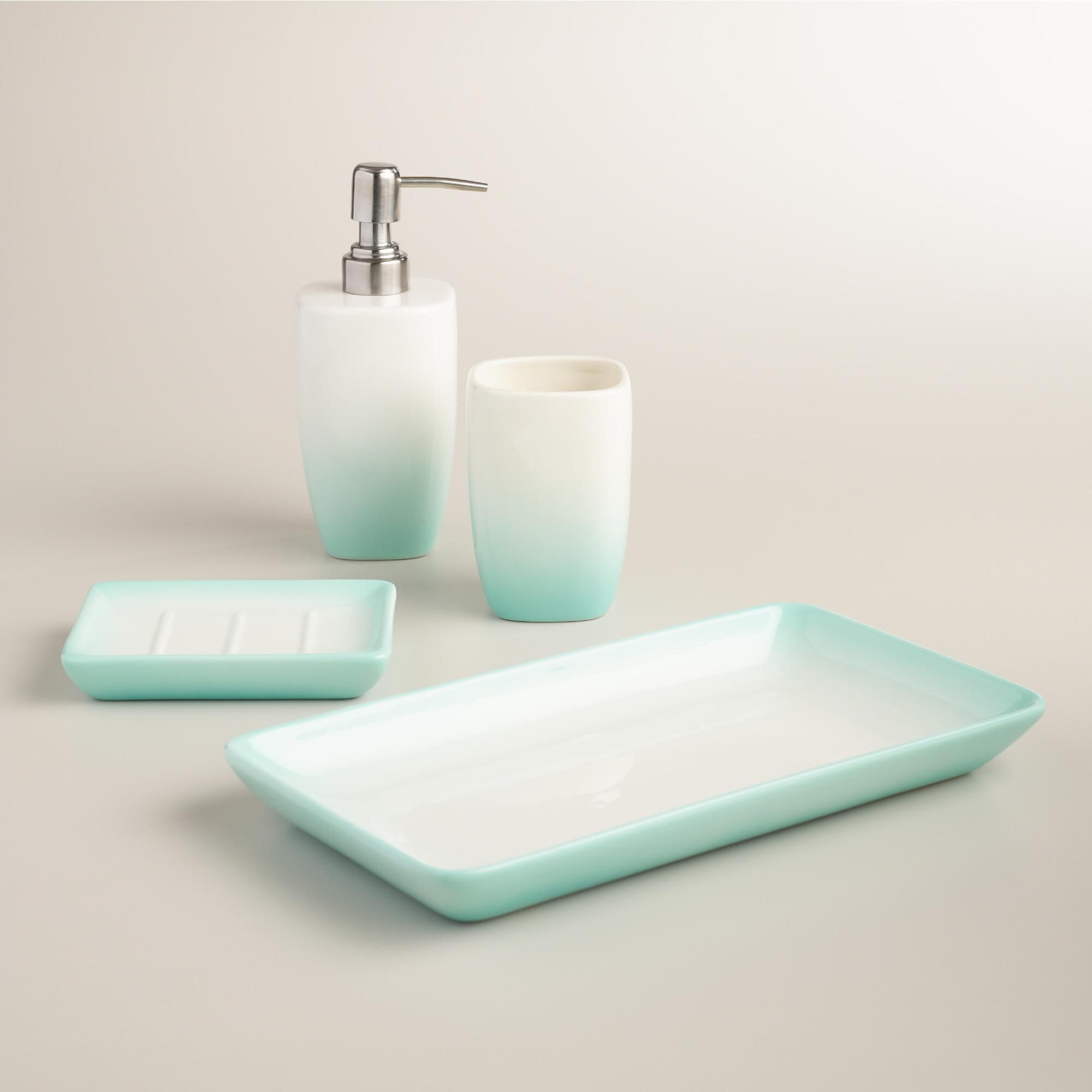 Aqua ombre ceramic bath accessories collection world for Aqua bath accessories