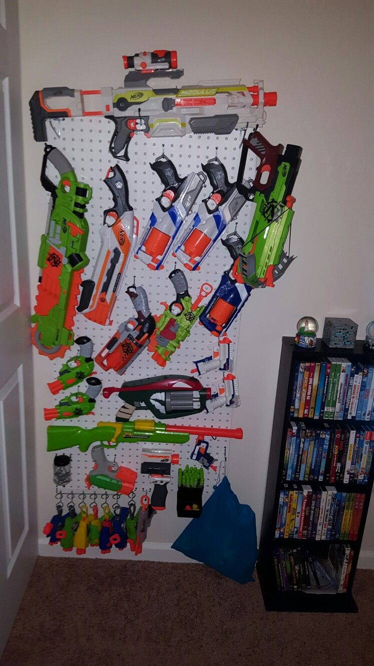 Pegboard nerf gun wall for less than $5!