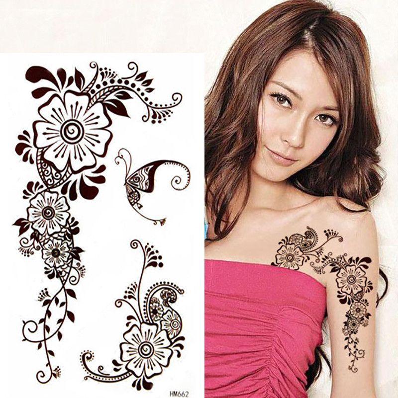 1pcs Brown Henna Tattoo Sticker Waterproof temporary, India Mehndi Henna Flower Lace Tattoos Sexy Woman Body Paint Art HM662