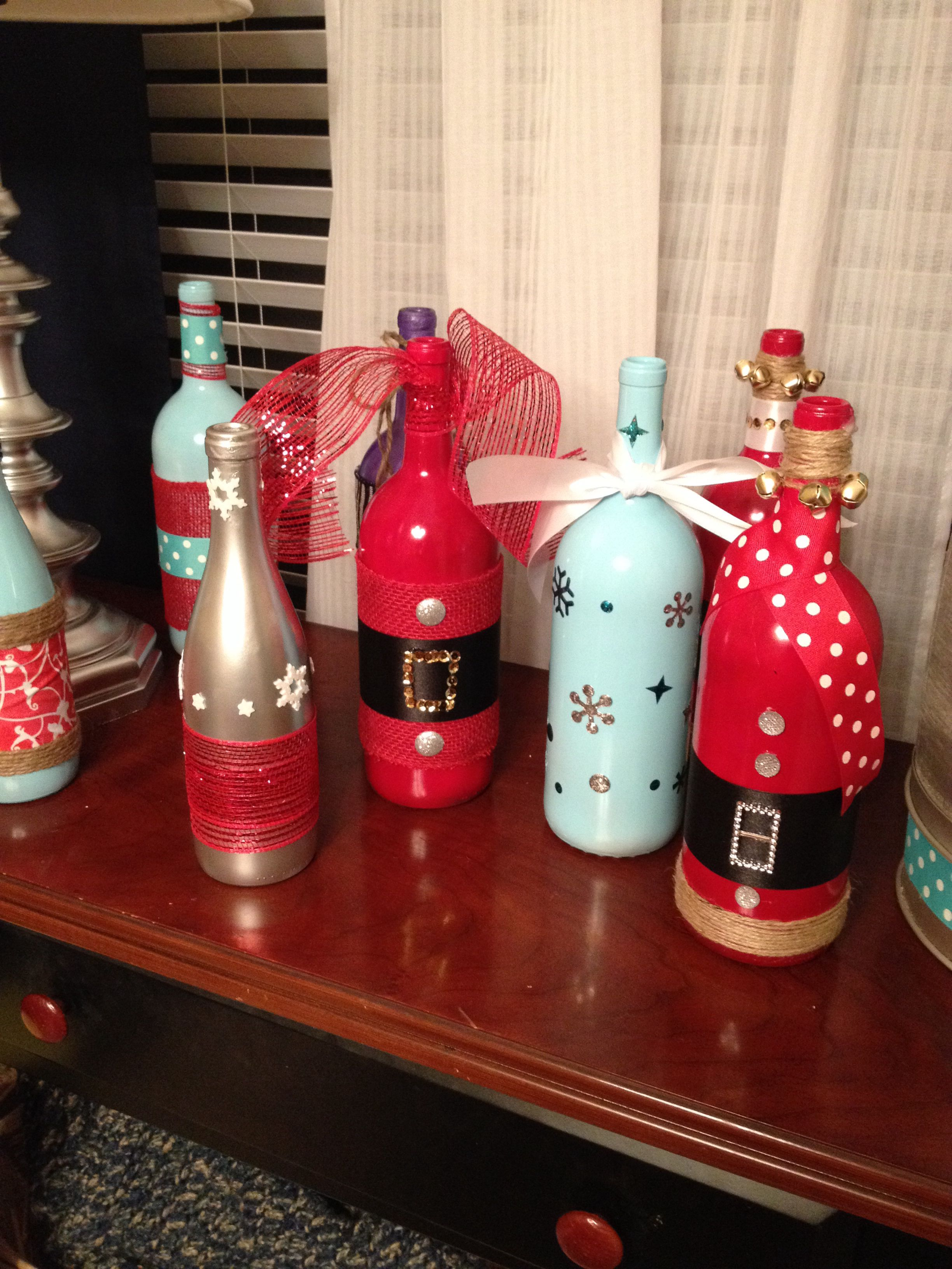 Botellas De Vidrio Decoradas Christmas Wine Bottles Navidad Christmas Wine Bottles