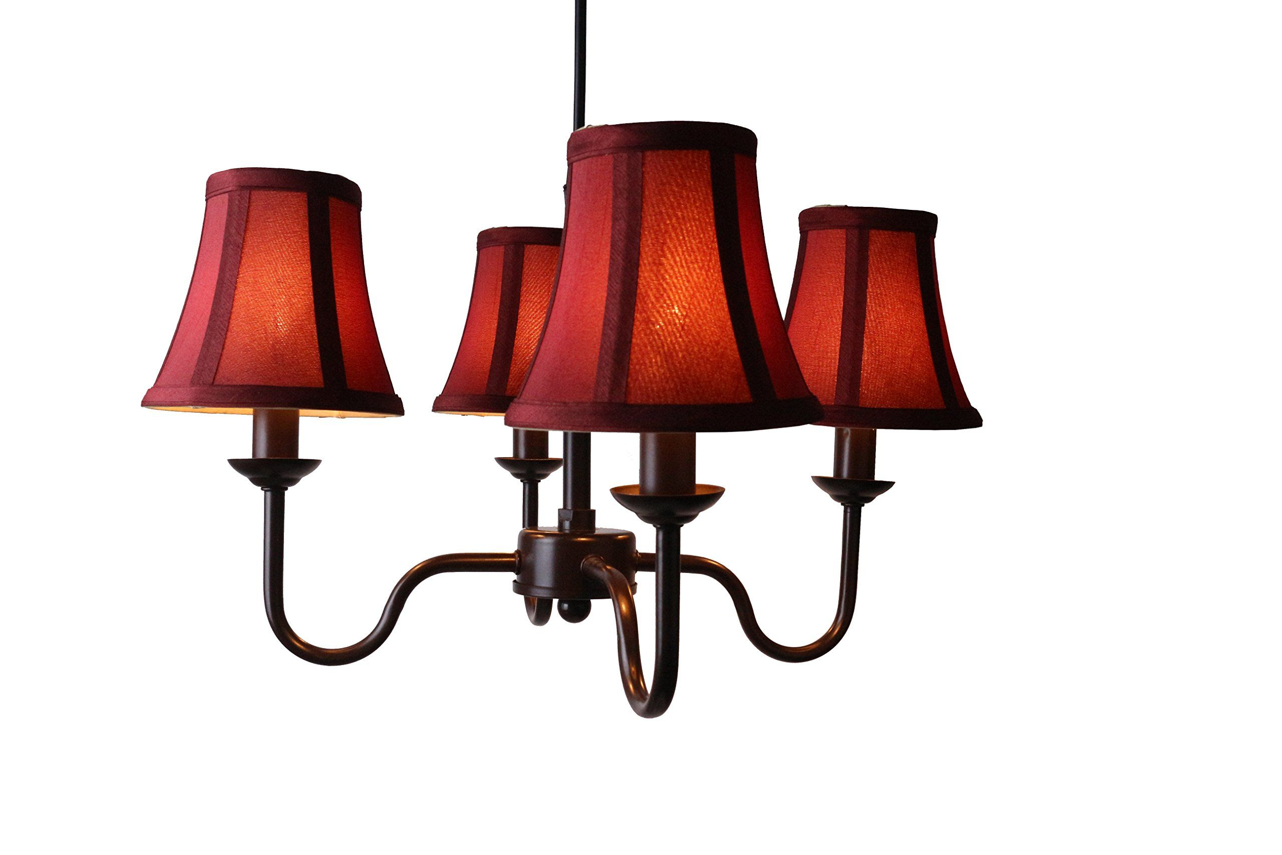 Urbanest Portable Shire 4Light Chandelier With Burgundy Silk Bell Shades