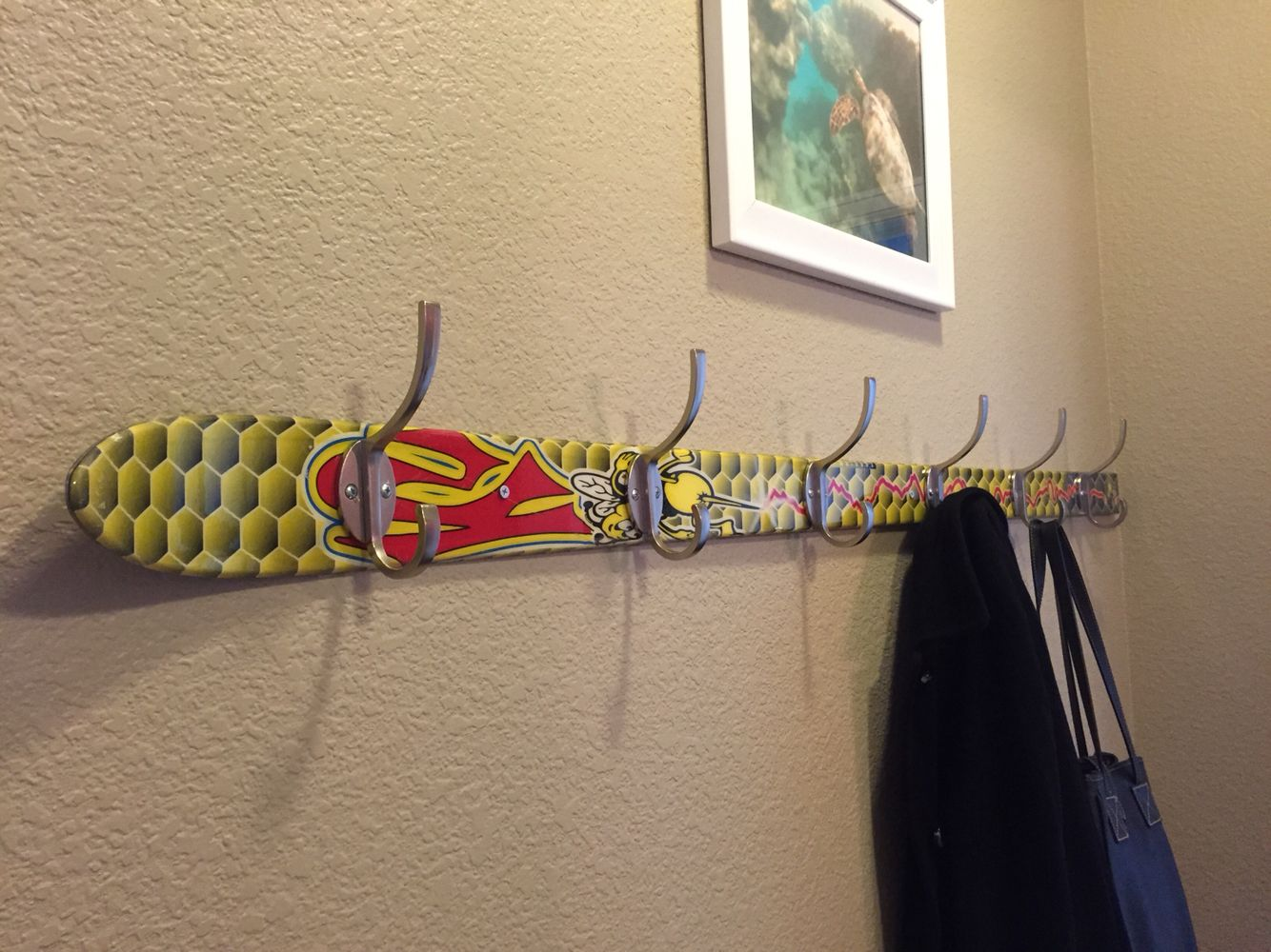 Ski coat rack looks super cool and much longer than the average