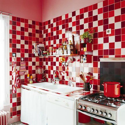 Cuisine Rouge Des Idées Déco Inspirantes Crédence Damier Et - Carrelage cuisine damier pour idees de deco de cuisine