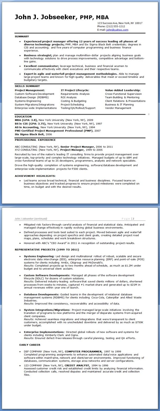 sample it project manager resume experienced - Sample It Project Manager Resume