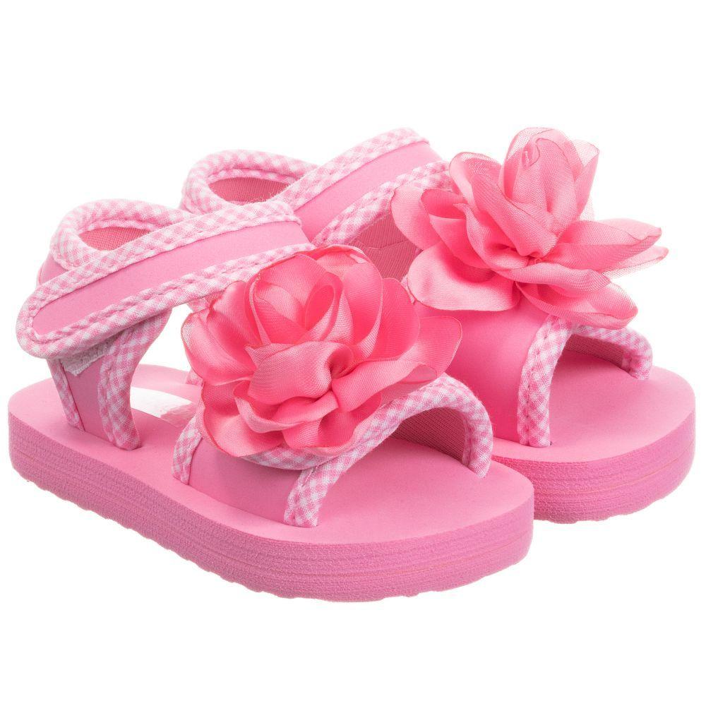 7535e0106c48 Girls Pink Flower Sandals   L&C Drop off gifts   Pink sandals, Pink ...