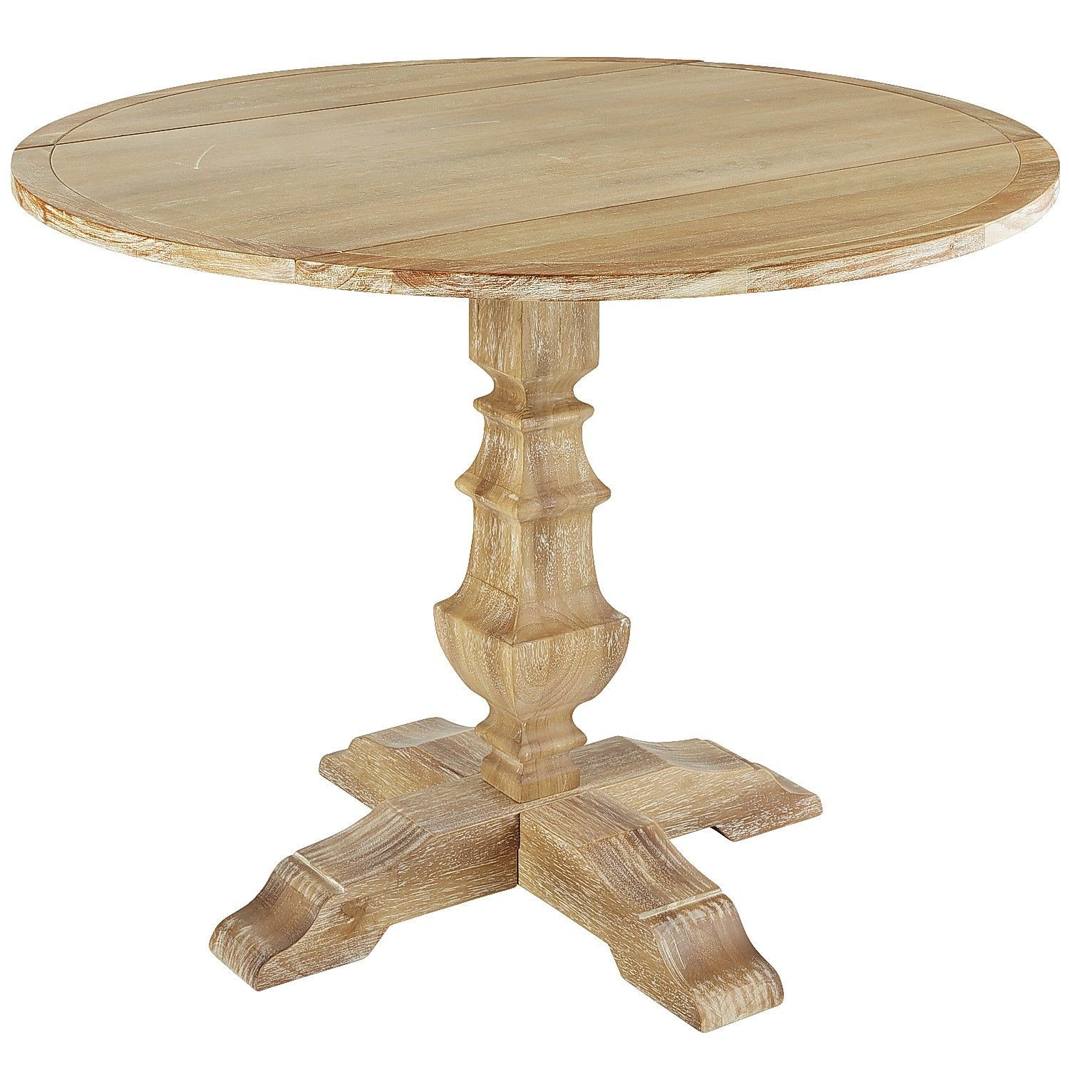 Natural Wood Dining Room Tables: Bradding Natural Stonewash Round Drop Leaf Dining Table