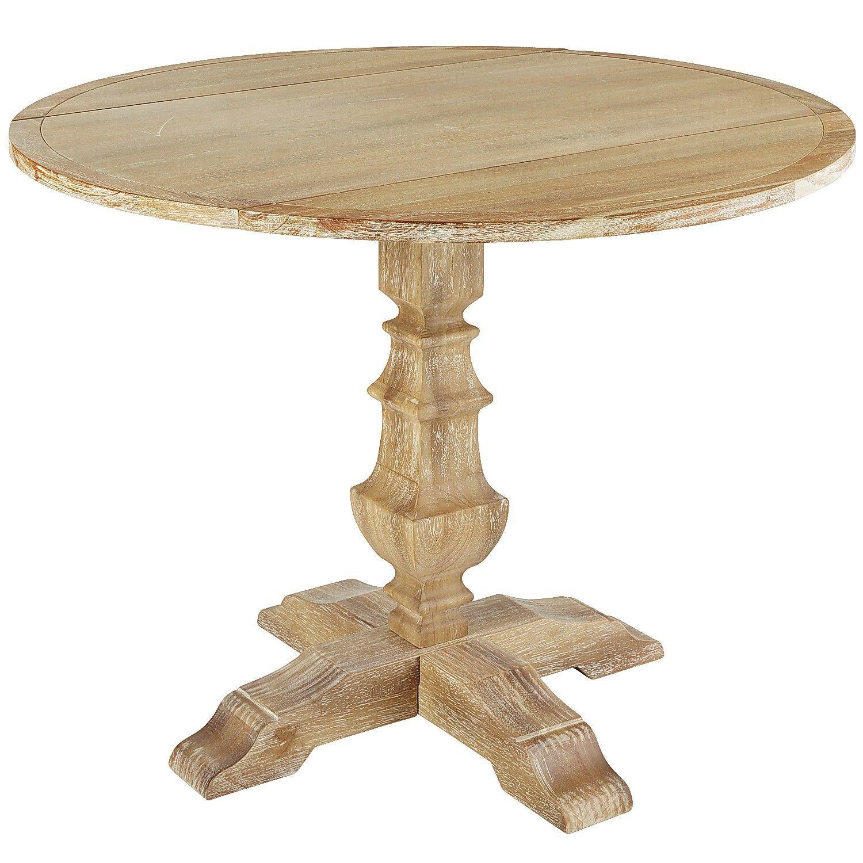 Bradding Natural Stonewash Round Drop Leaf Dining Table ...