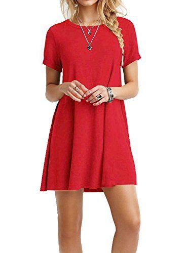 40d42b5fd081 TINYHI Women Swing Loose Short Sleeve Tshirt Fit Comfy Casual Flowy Tunic Dress  Red Basic short Sleeves short Tunic Top Mini T-shirt Dress Super soft