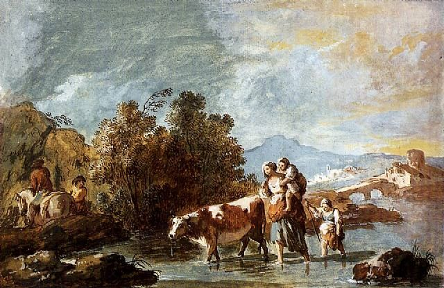 A Peasant Family with a Cow, Crossing a Stream by Giuseppe Zais mid to late 18th century.