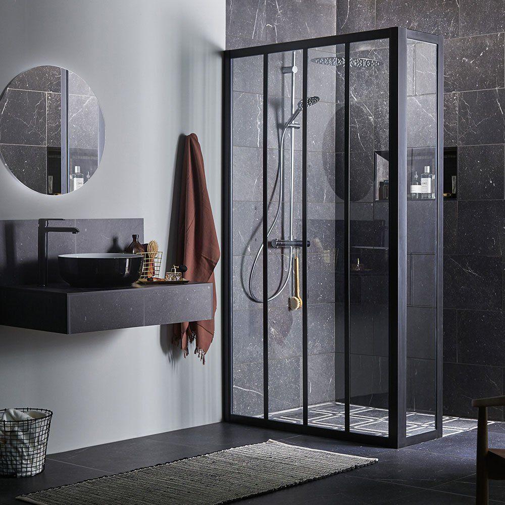 une douche italienne esprit industrielle lapeyre