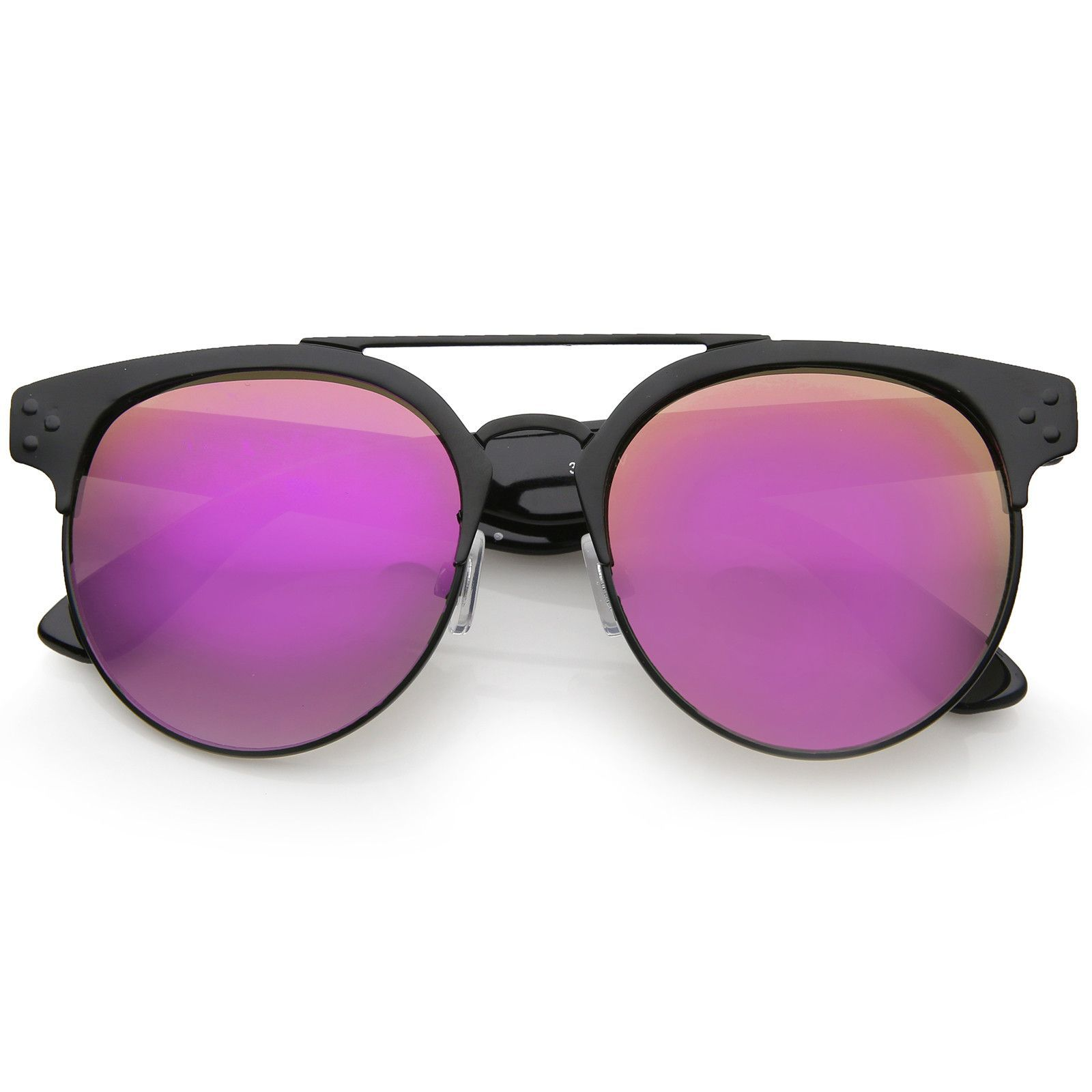 Modern Horn Rimmed Brow Bar Colored Mirror Round Aviator Sunglasses 54mm