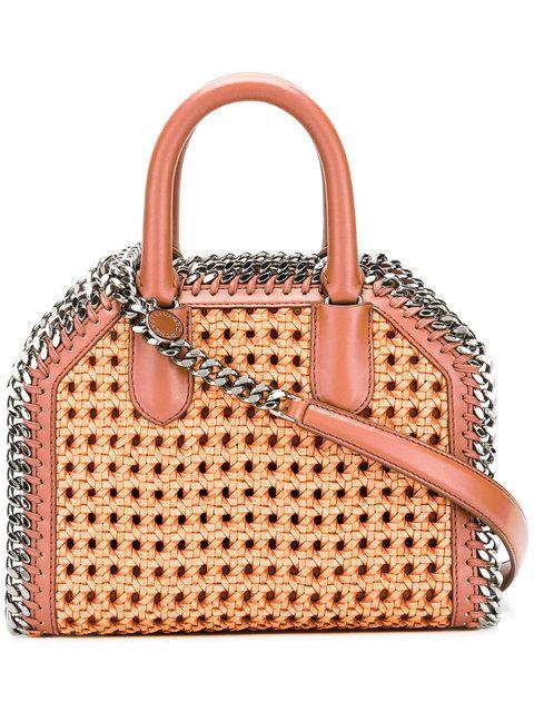 cb520d745b8c Shop Stella McCartney Tan Falabella Box wicker Mini Shoulder Bag ...