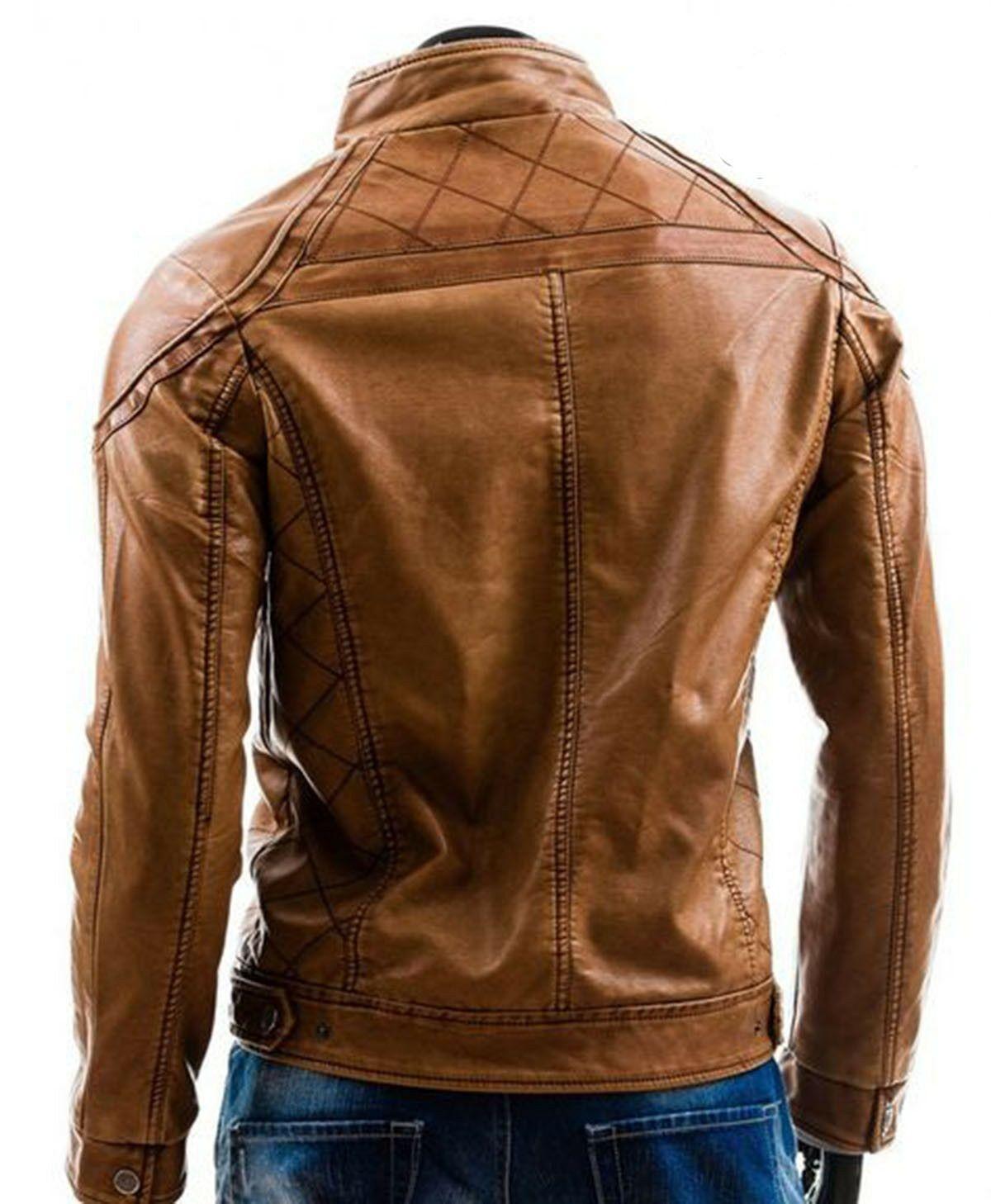 New Handmade Men S Genuine Brown Fashionable Biker Jacket Stylish Motorcycle Ja Leather Jacket Jackets Men Fashion Leather Jacket Men [ 1458 x 1200 Pixel ]