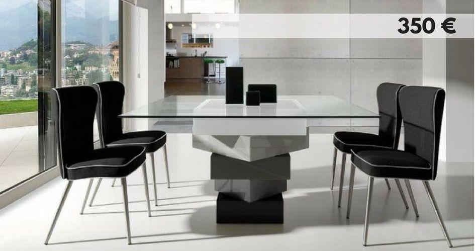 Espectacular mesa de comedor con sobre de cristal y pie de diseño
