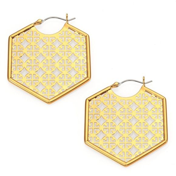 """Tory Burch Gold Perforated Logo Hoop Earrings The Perforated Logo Hoop Earring works our signature 'T' into an intricate cut-out pattern — a defining trend of the season. Finished with clean, geometric edges, this polished pair accents your look with a little graphic impact and shine. Made for pierced ears. Hinge closure for pierced ears. 16K gold-plated. Drop: 1.83"""" (4.6 cm) Length: 1.83"""" (4.6 cm) Width: 1.55"""" (3.9 cm)NO TRADES Tory Burch Jewelry Earrings"""