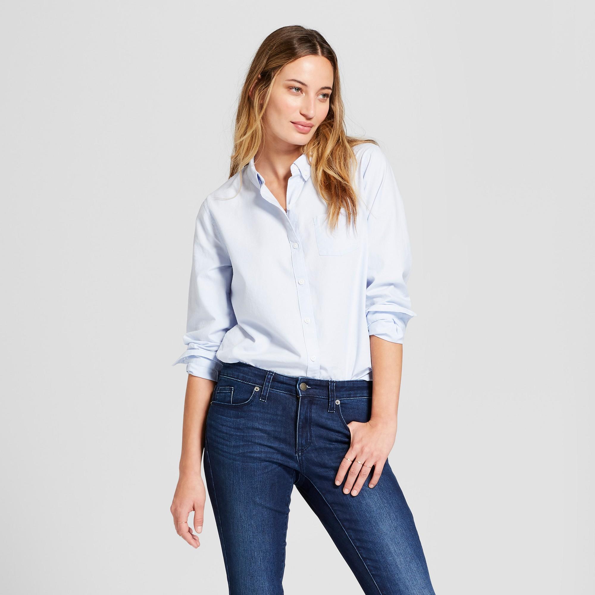 Women S Long Sleeve Camden Button Down Shirt Universal Thread Blue Xxl Dress Shirts For Women Women Long Sleeve Work Wear Women [ 2000 x 2000 Pixel ]
