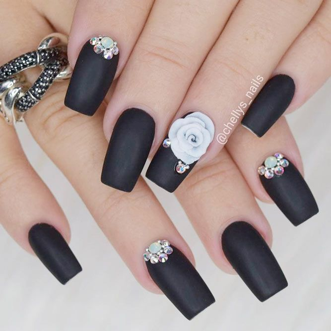 Acrylic Nails Awesome Ideas Matte Black Square 3d Flowers