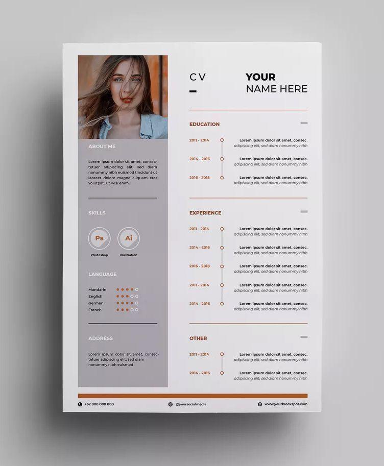 resume design templates ai  eps - a4 paper size