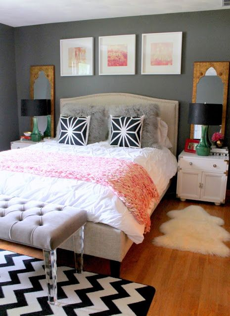 Dark grey wall color scheme and pink white bedding sets in eclectic bedroom design ideas find this pin and more on brilliant bedrooms by highfashionhome