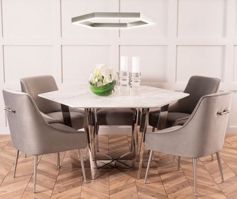 Kronos Dining Table Chrome Chrome Dining Table Hexagonal Table