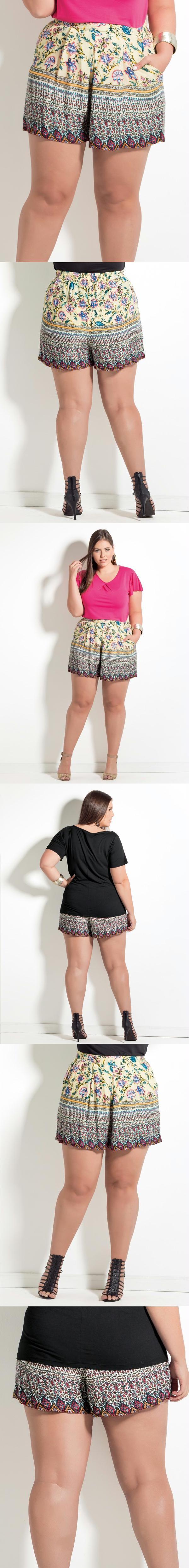 37d3d236a Shorts Quintess Plus Size, em viscose plana. Frente com cós duplo e costas  franzido