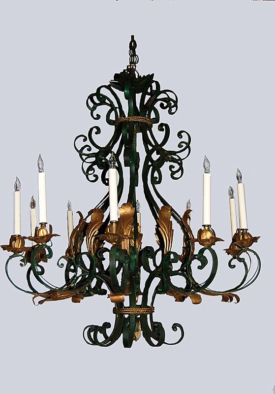 Vintage Black Wrought Iron Chandelier!