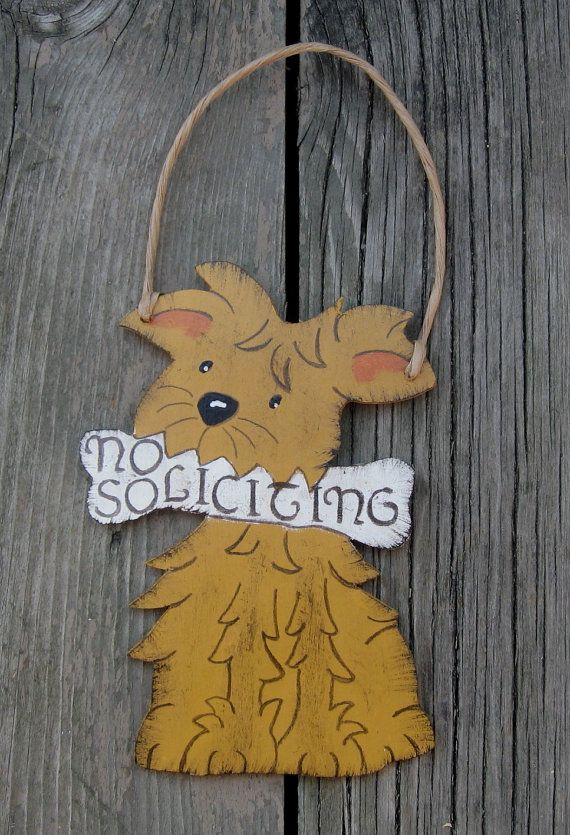 Terrier No Soliciting Sign  Golden Dog  Outdoor by BirchTurtleDove, $36.00