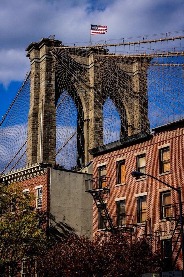 Brooklyn Bridge seen from Old Fulton Street near Water Street, Brooklyn NYC