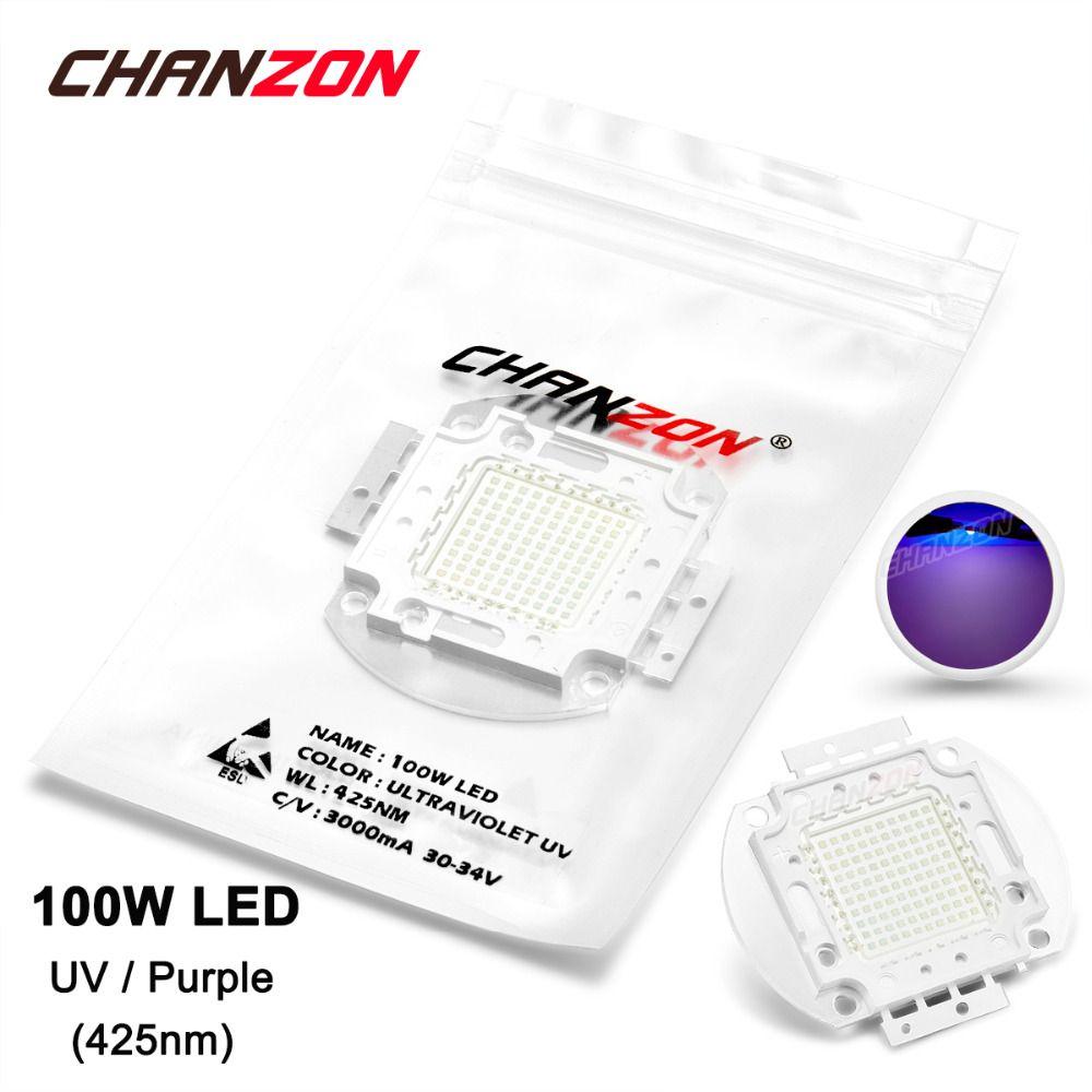 100w Led Light Bulb Lamp Uv Ultraviolet 425nm 30 34v 3000ma High Power 100 Watt Purple Chip 100watt 425 Nm Cob For Led Light Bulb Light Bulb Lamp Ultra Violet