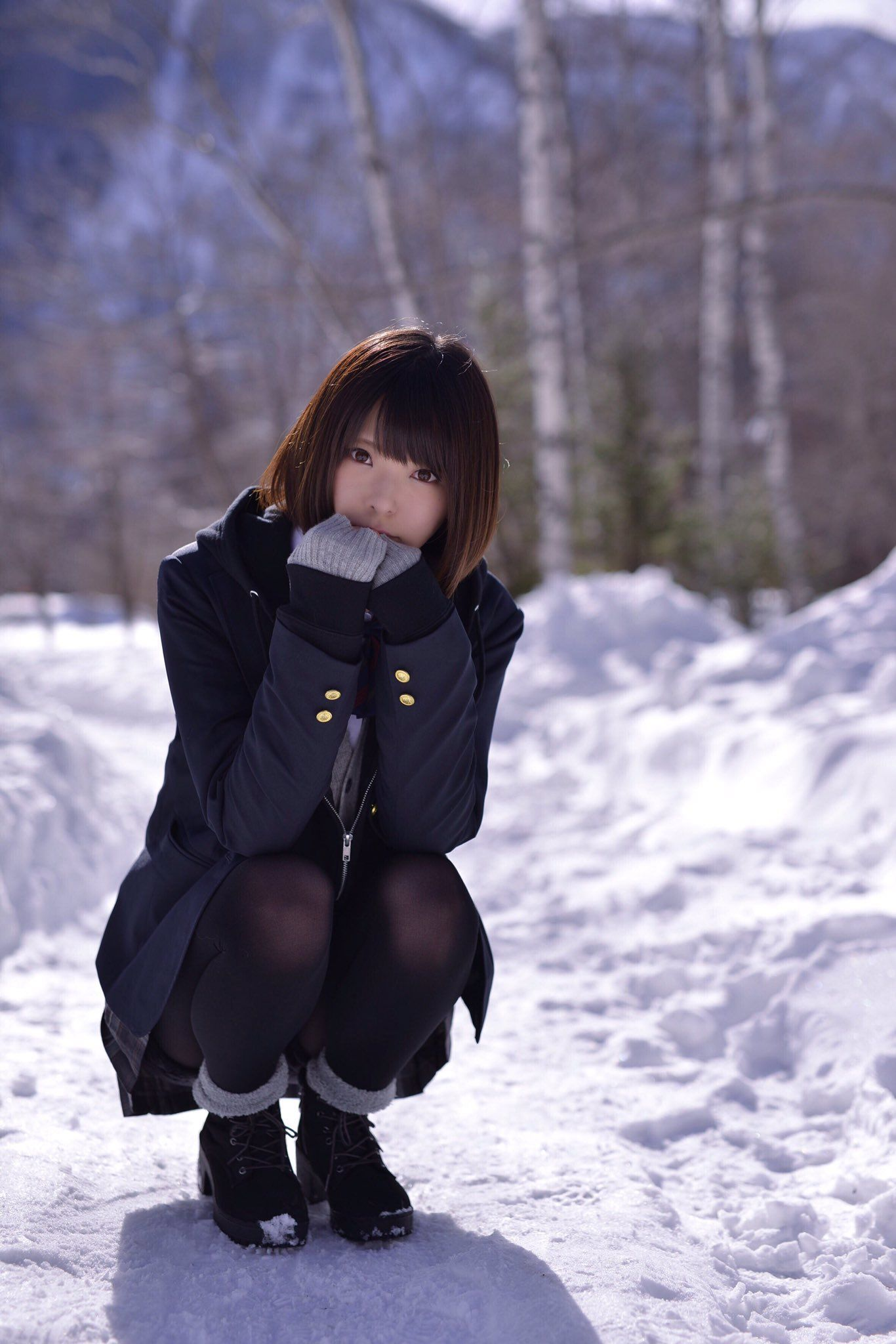 今年的第一場初雪,可以玩雪真高興 #制服美少女 #瀏海》#Cute #Girl #Pretty #Girls #漂亮 #可愛