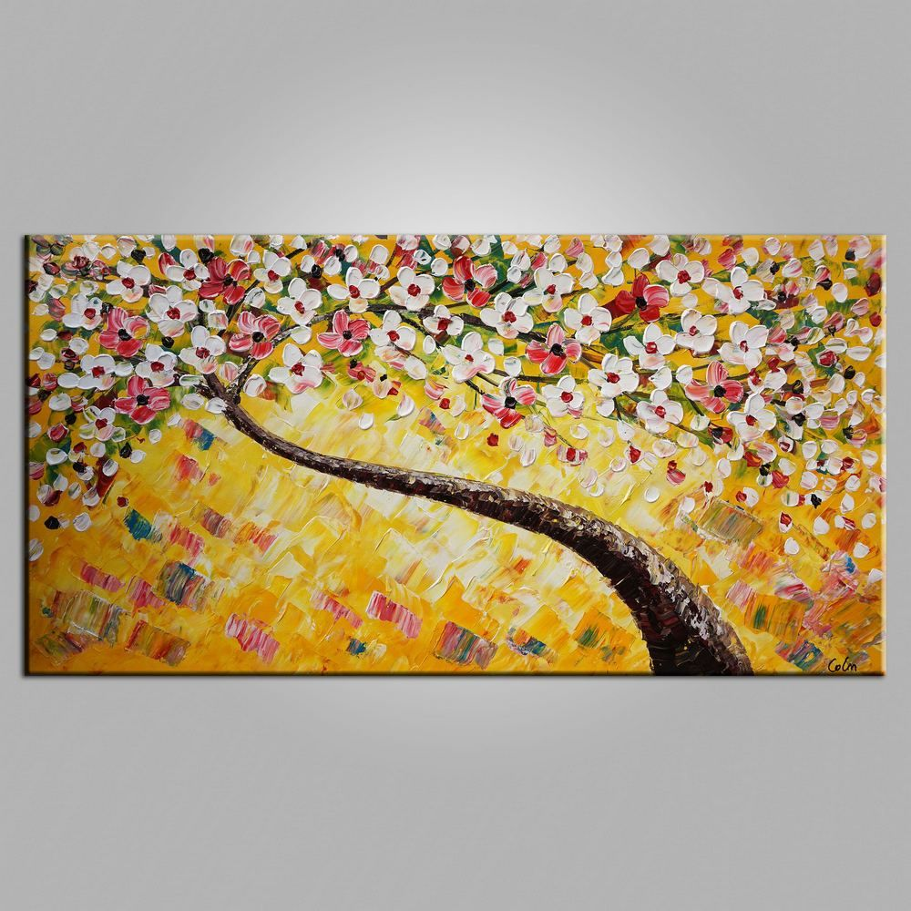 Flower Painting, Heavy Texture Art, Tree Painting, Bedroom Wall Art ...