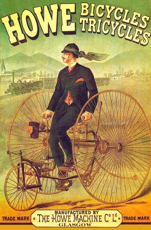 Howe Bicycles Tricycles 1880s Advertising Poster Vintage Advertising Posters Vintage Posters Bike Poster