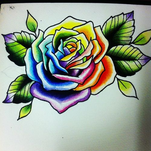 5 Latest Rainbow Rose Tattoo Designs Rose Tattoo Colorful Rose Tattoos Traditional Tattoo Flowers
