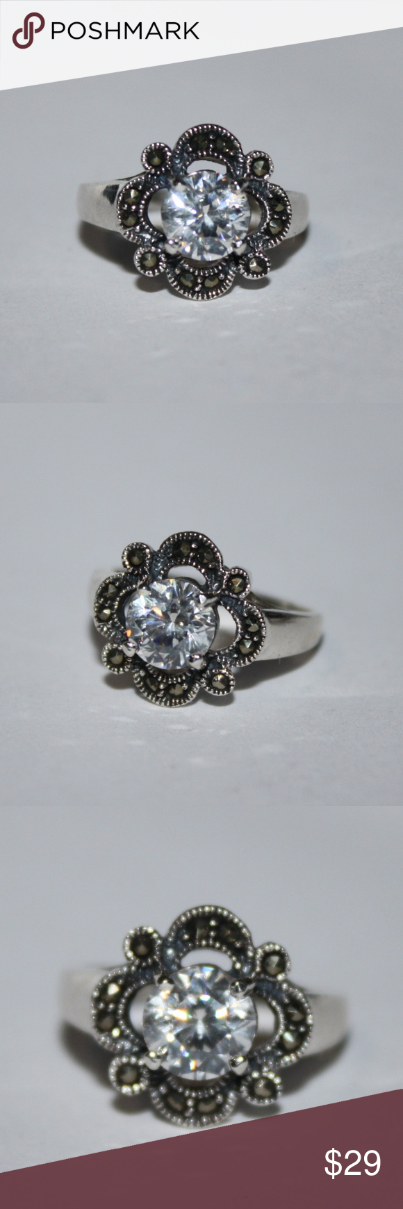 Stunning CZ and Marcasite .925 Sterling ring NWT Beautiful