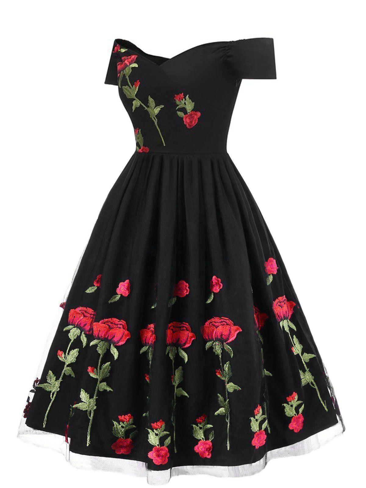 Embroidery Flower A-line Dress Retro V Neck  Mesh Dress Elegant Vintage Embroidery Elegant Dress