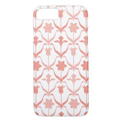 Art Nouveau Spring Bulbs  Monogram -l White Coral iPhone 8/7 Case - bridal shower gifts ideas wedding bride