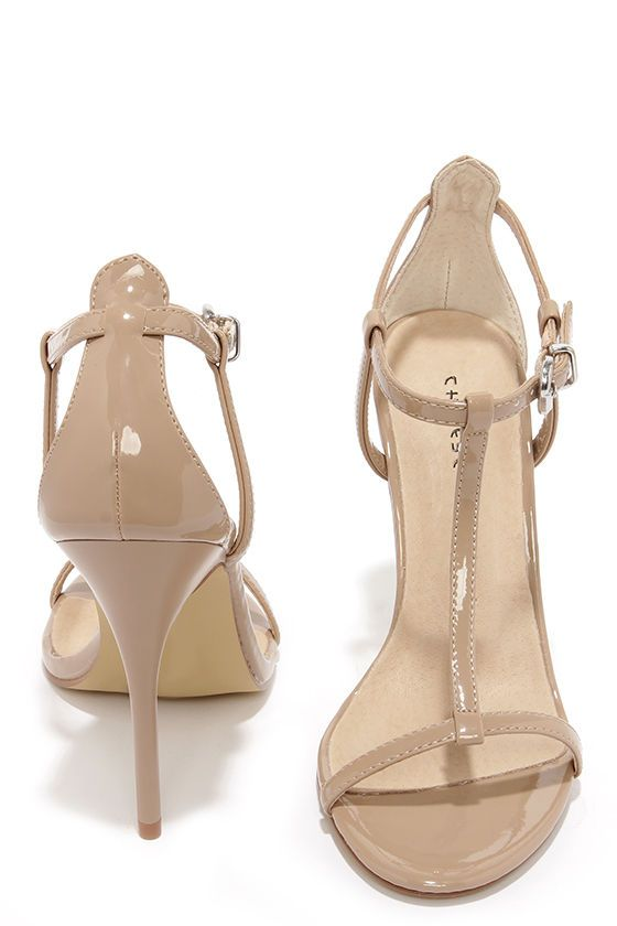 e51a13f25 { Chinese Laundry Leo Nude Patent T Strap Dress Sandals at Lulus.com }